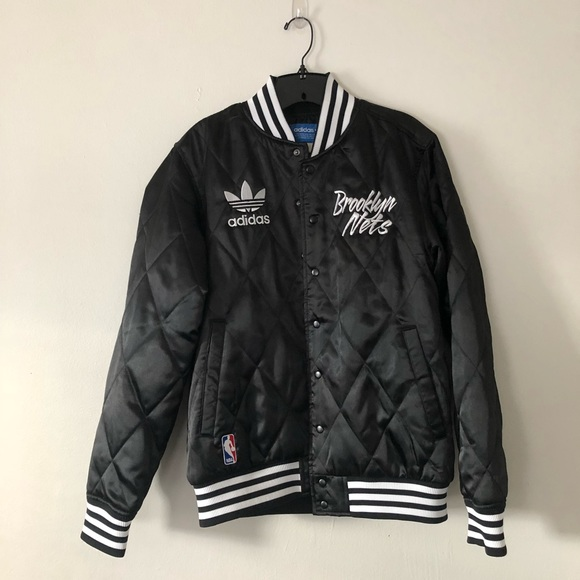 de065bcb1 Adidas Brooklyn Nets quilted bomber jacket NWT